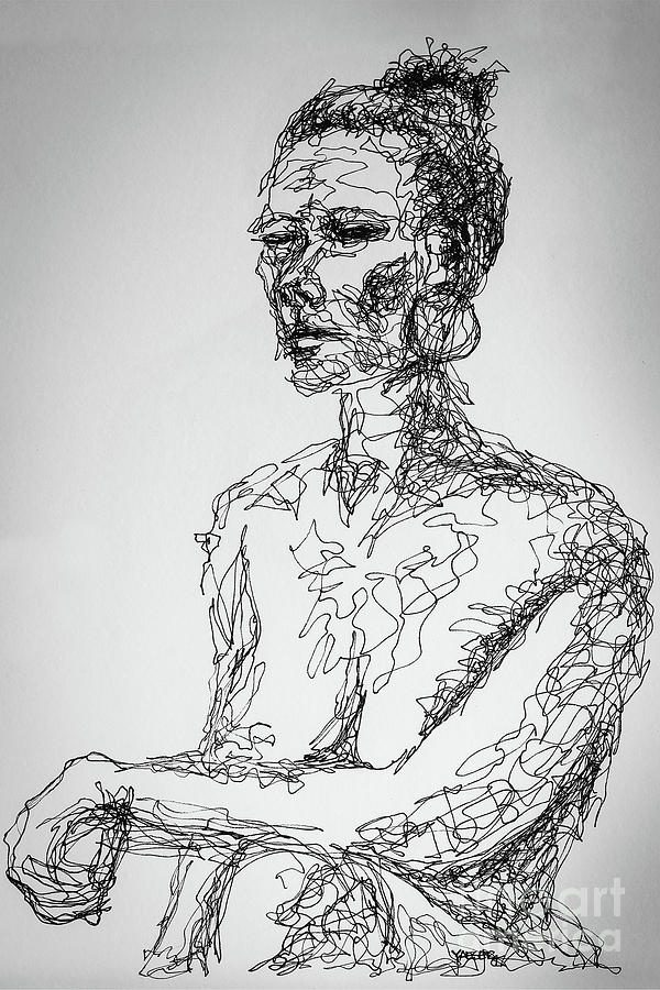 Abstract Portrait Continuous Line Drawing 3970 Drawing by Robert Yaeger - line drawing