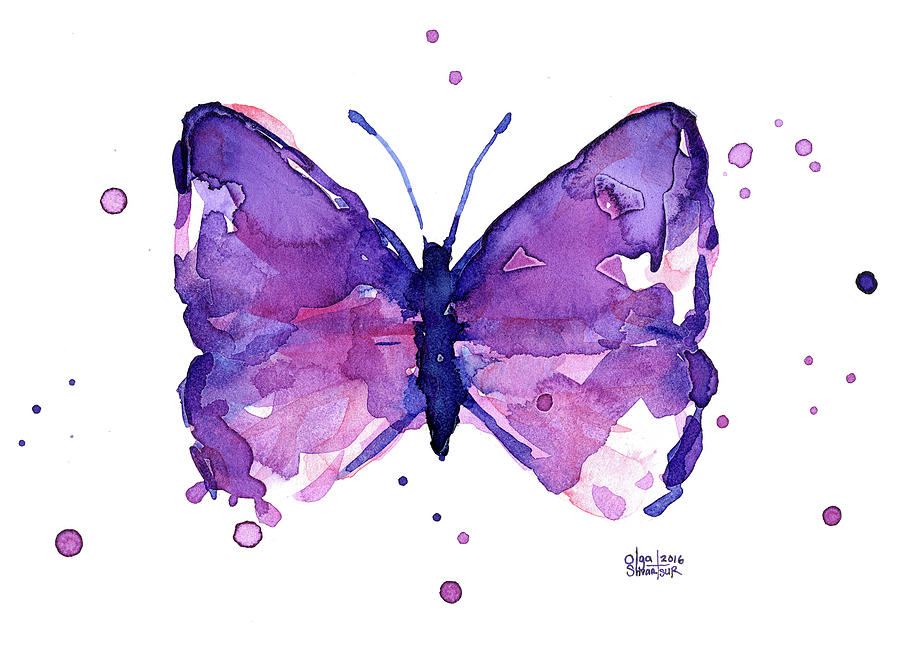 Animal Print Pink Wallpaper Abstract Purple Butterfly Watercolor Painting By Olga