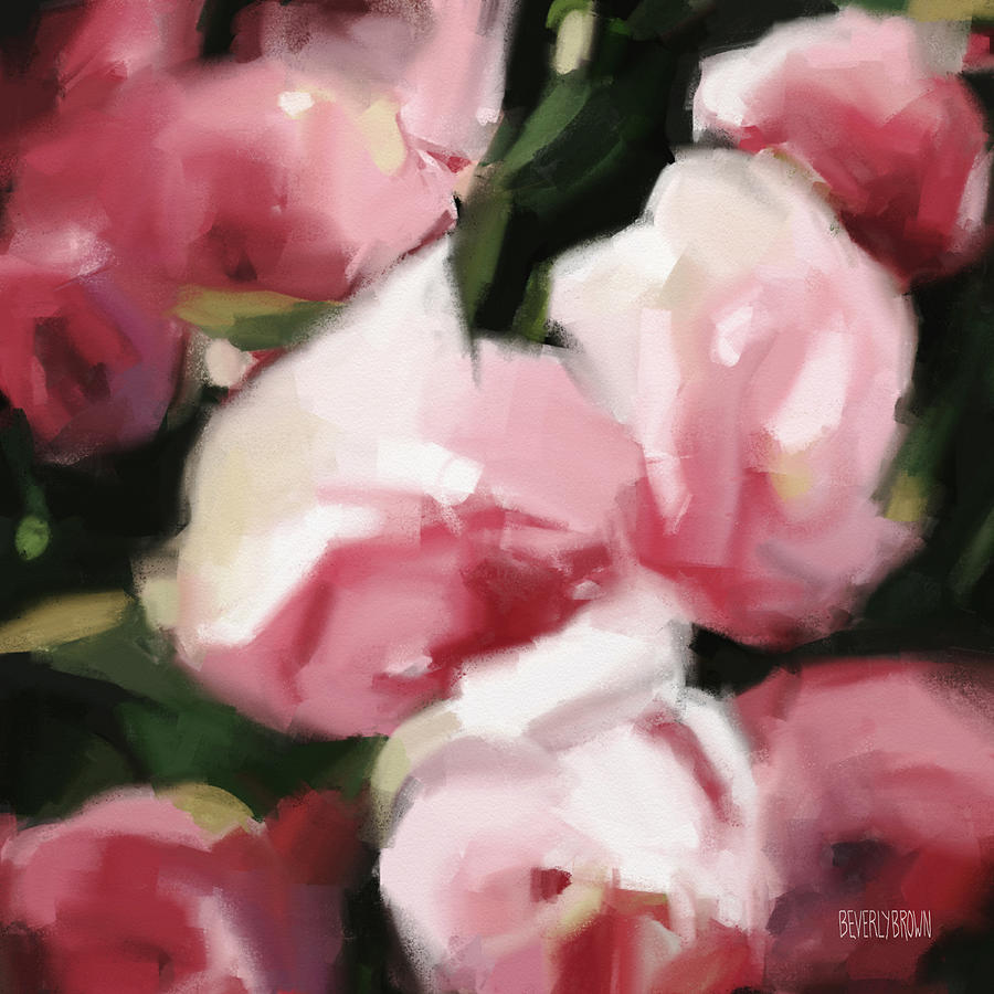 Abstract Art Prints On Canvas Abstract Roses Dark And Light Pink By Beverly Brown