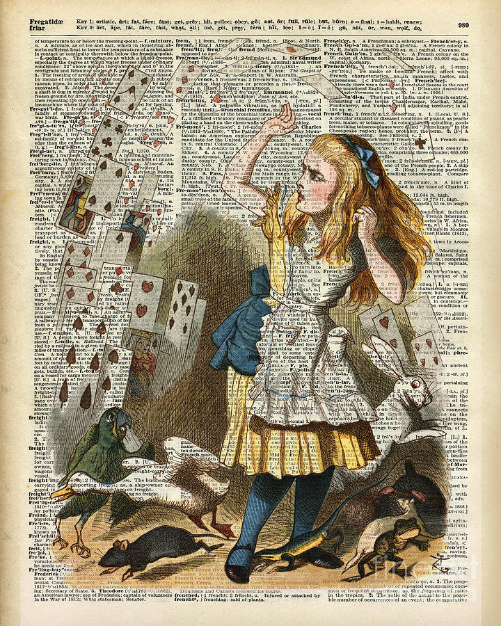 Alice In Wonderland Wallpaper Iphone Alice In The Wonderland On A Vintage Dictionary Book Page
