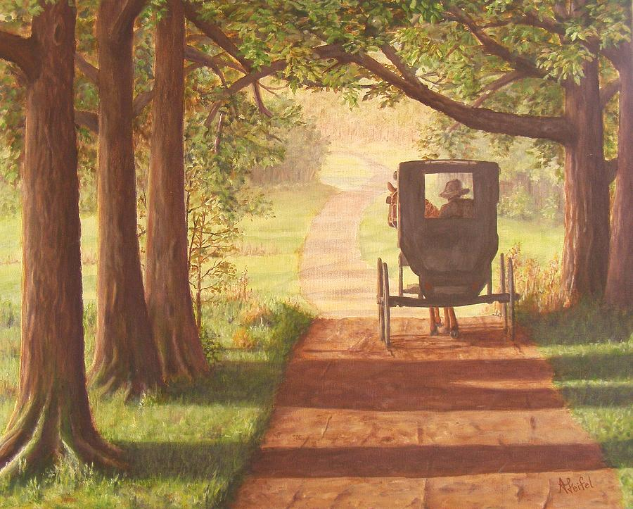 Fall Desktop Wallpaper With Pumpkins Amish Painting Horse And Buggy Country Trails Painting By