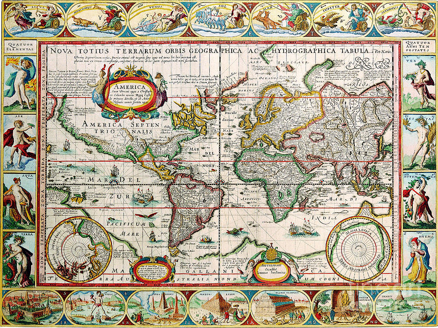 Antique Maps Of The World Map The Americas Pieter Van Den Keere