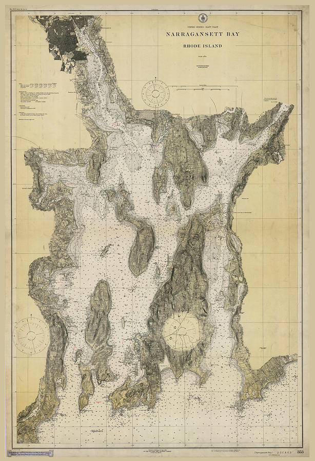 Antique Maps - Old Cartographic Maps - Antique Map Of Narragansett