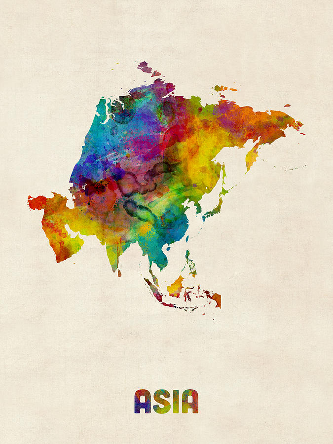 Asia Continent Watercolor Map Digital Art by Michael Tompsett