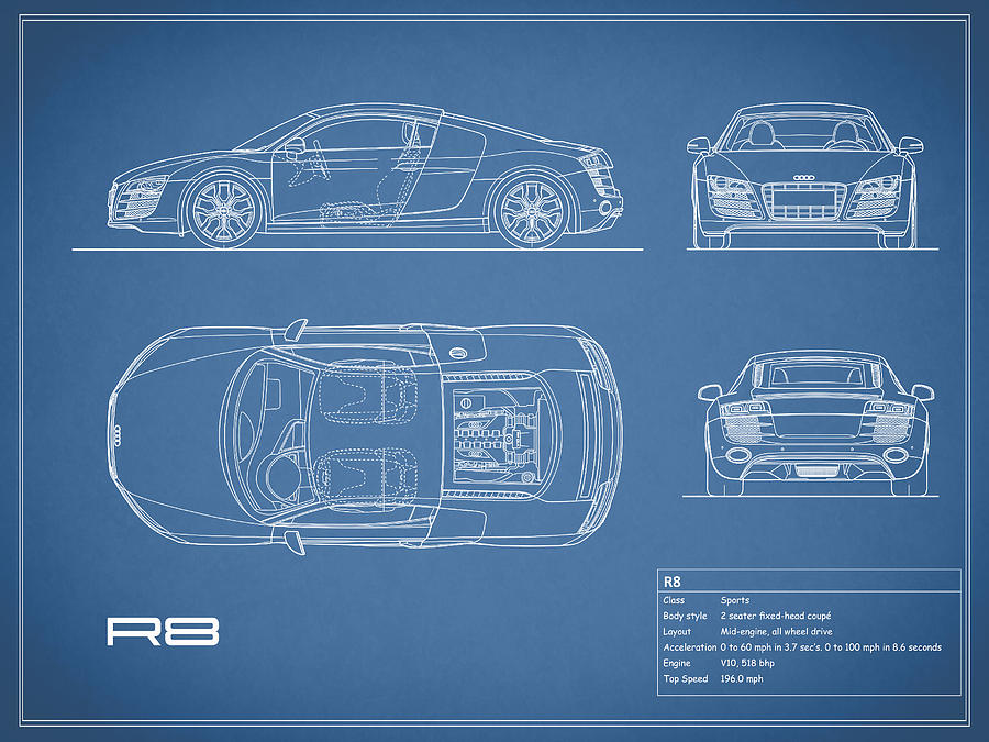 Audi R8 Blueprint Photograph by Mark Rogan - best of blueprint drawings of audi r8