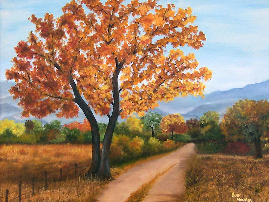 Colorful Fall Scene Wallpaper Autumn Tree Country Road Painting By Ruth Housley