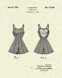 Bathing Suit 1940 Patent Art Drawing by Prior Art Design