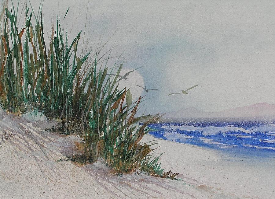 Beach Scene Painting by Roy Hruska