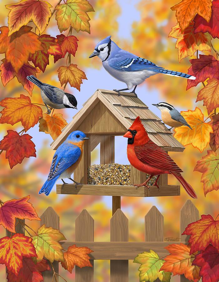 Fall Tree And Black Fence Wallpaper Bird Painting Autumn Aquaintances Digital Art By Crista
