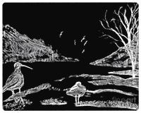 Black And White Beach Scene Drawing by Debra Lynch