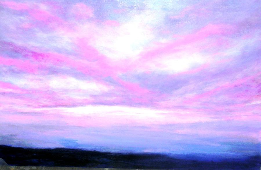 Inside Iphone X Wallpaper Blue And Pink Sky Painting By Marie Line Vasseur