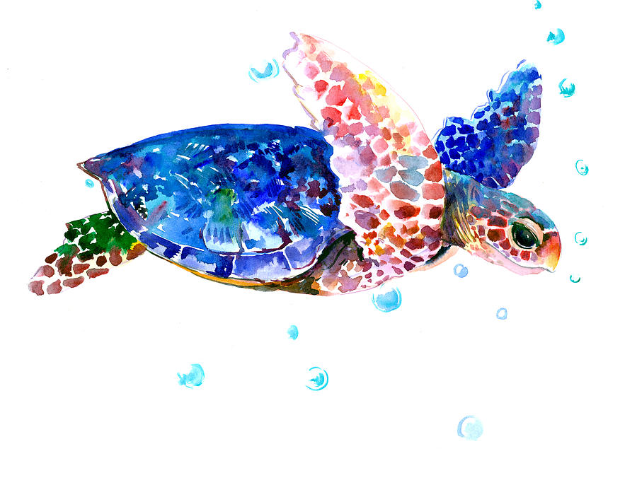 Cute Turtle Wallpaper For Iphone Blue Sea Turtle Painting By Suren Nersisyan