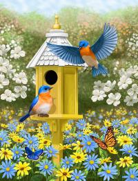 Bluebird Garden Home Painting by Crista Forest