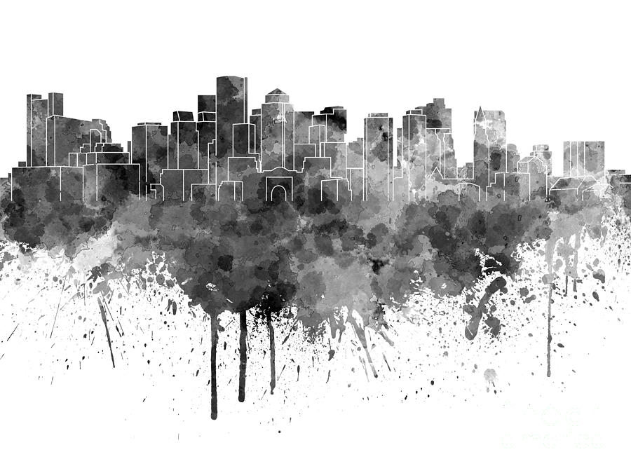 Boston Skyline In Black Watercolor On White Background Painting by