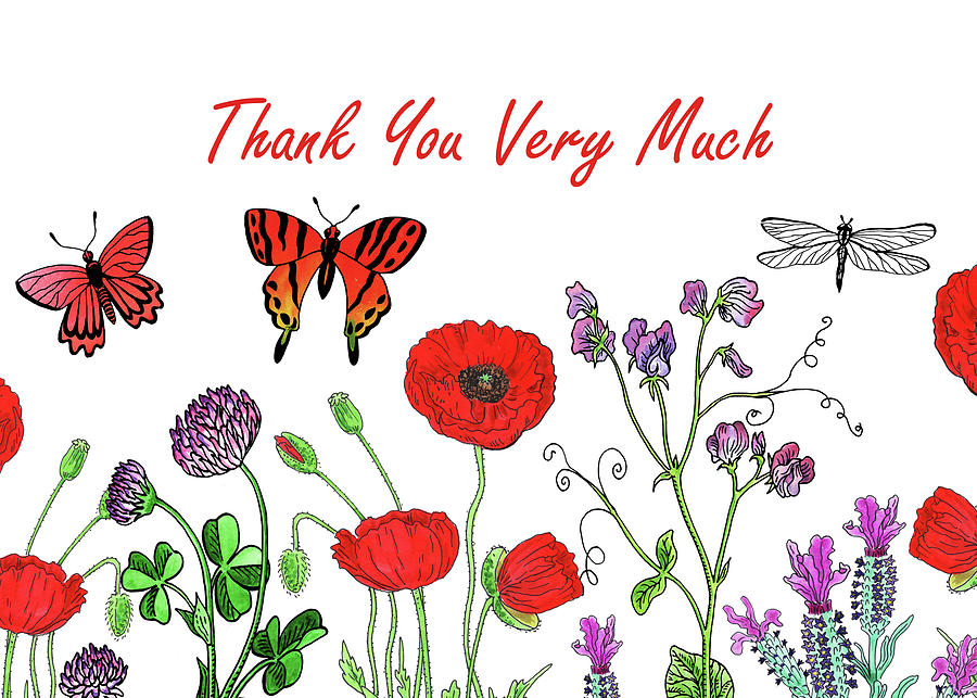Butterflies And Wildflowers Thank You Card Design Painting by Irina