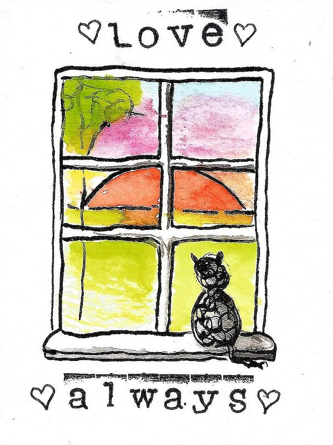 Cat Sympathy Card Painting by Diane Palmer