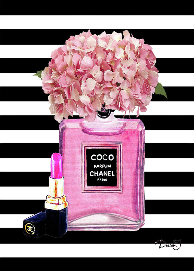 Chanel Wallpaper For Iphone 5 Chanel Poster Pink Perfume Hydrangea Print Painting By Del Art