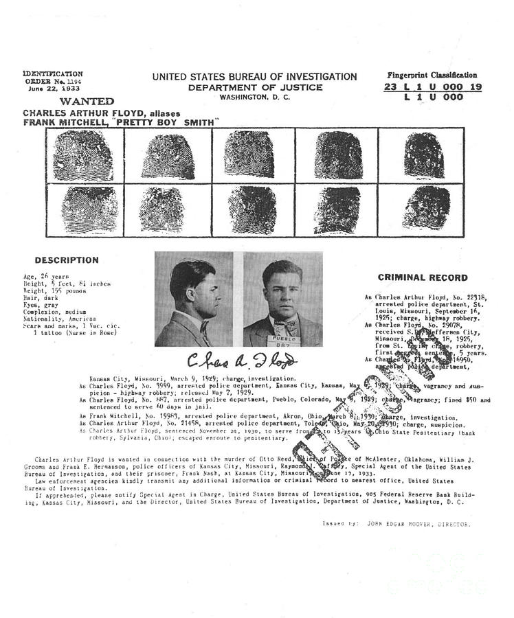 Charles Pretty Boy Floyd Wanted Poster Photograph by Art Kurgin - criminal wanted poster