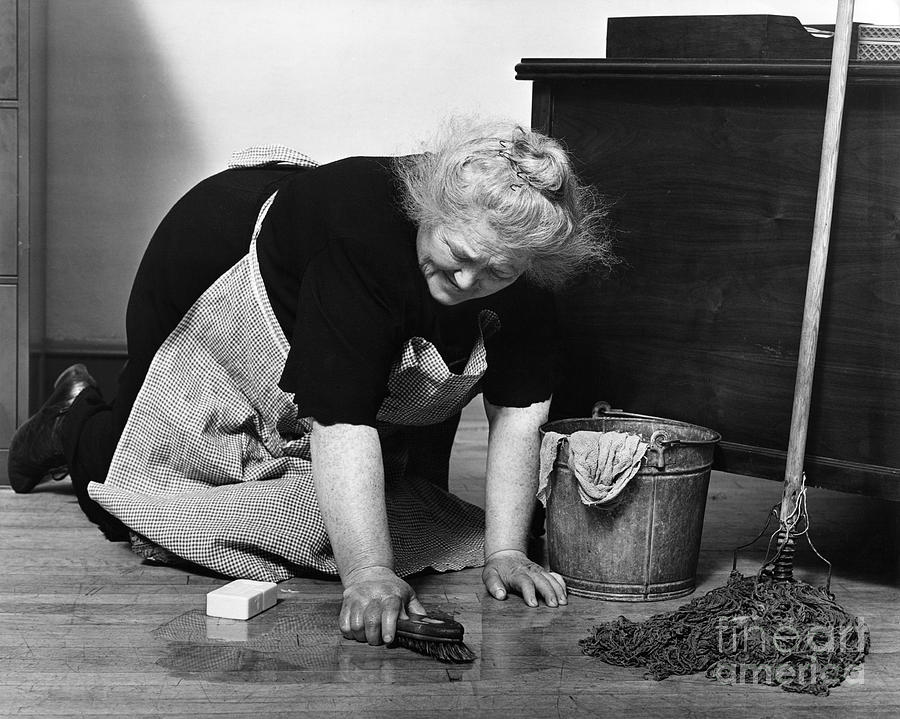 Charwoman Scrubbing Floor C1930s Photograph By H