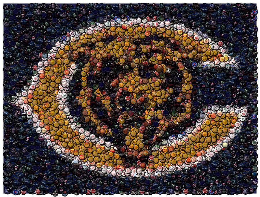 chicago bears curtains chicago bears bottle cap mosaic