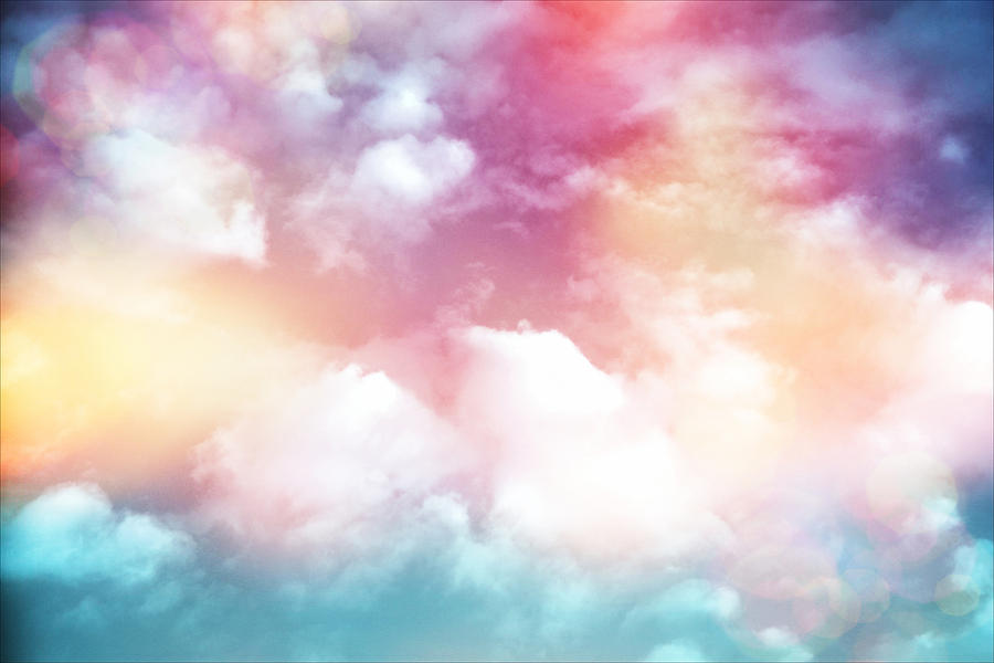 Cute Watercolor Wallpaper Colorful Clouds With Lens Flare Photograph By Serena King