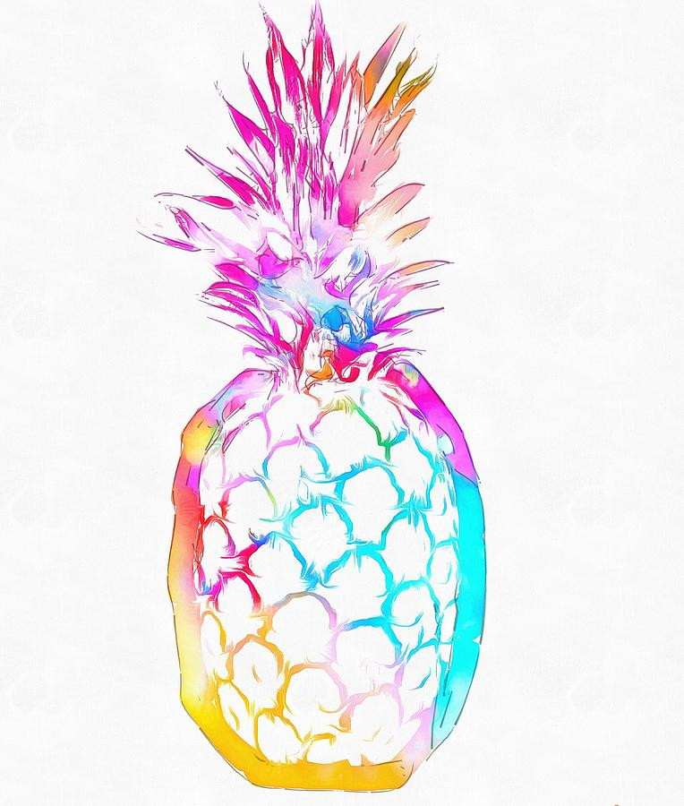 Cute Holographic Wallpapers Colorful Pineapple Painting By Dan Sproul