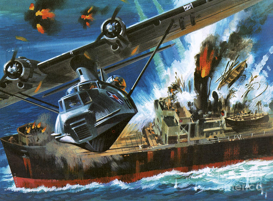 Aviation Wallpaper Iphone X Consolidated Pby Catalina Painting By Wilf Hardy