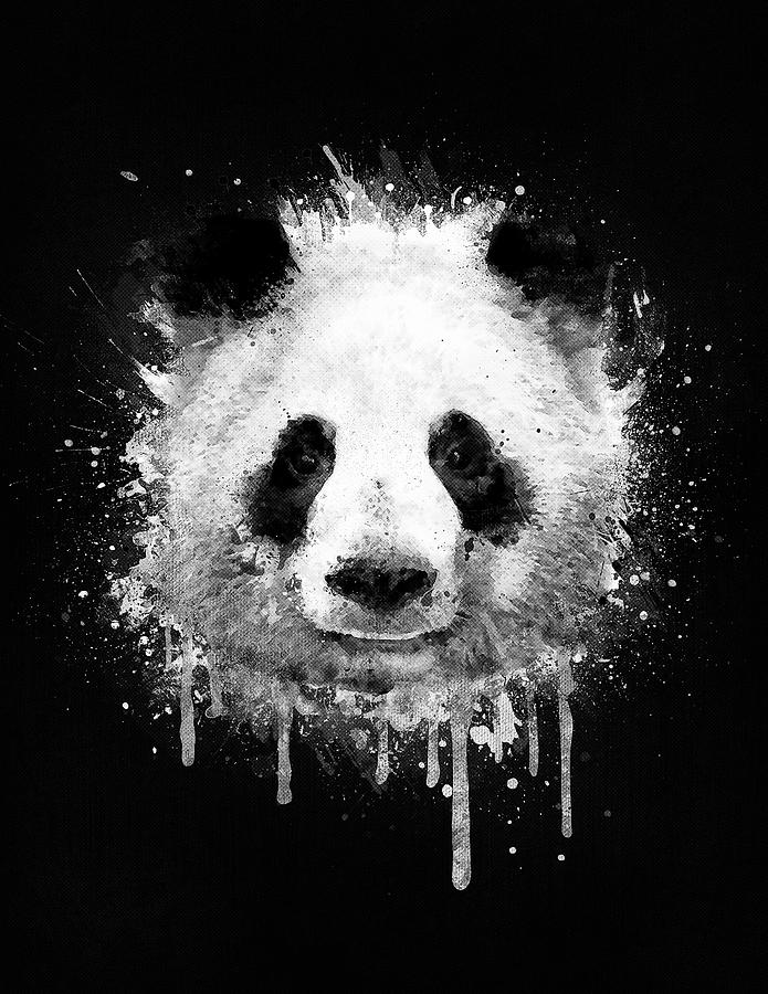 Cool Abstract Graffiti Watercolor Panda Portrait In Black And White Digital Art By Philipp Rietz