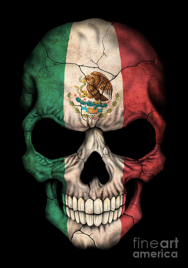 Satanic Iphone Wallpaper Dark Mexican Flag Skull Digital Art By Jeff Bartels