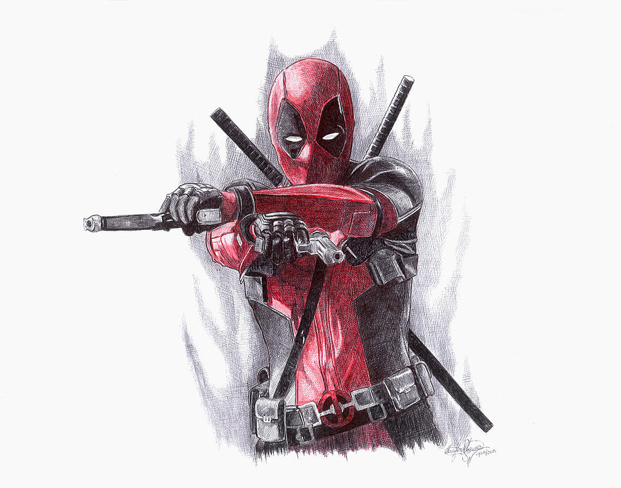 Black And Red Iphone Wallpaper Deadpool Drawing By Serafin Ureno