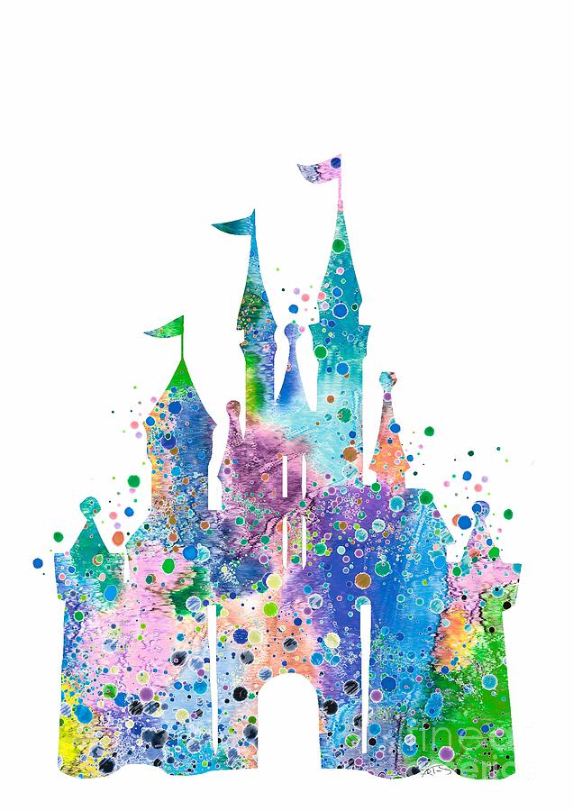 Disney Princess Quotes Wallpaper Disney Castle 2 Watercolor Print Digital Art By Svetla