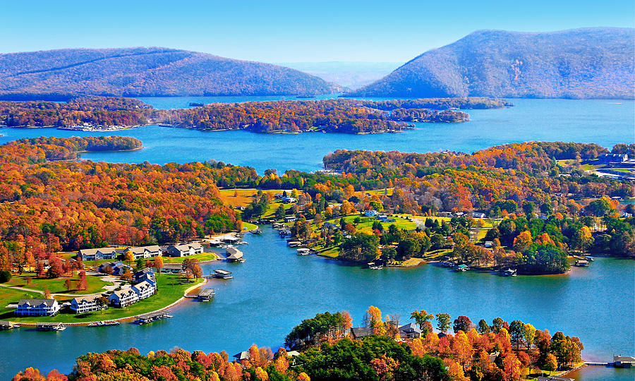 Fall Leaves Wallpaper For Ipad Fall Aerial Smith Mountain Lake Photograph By The American