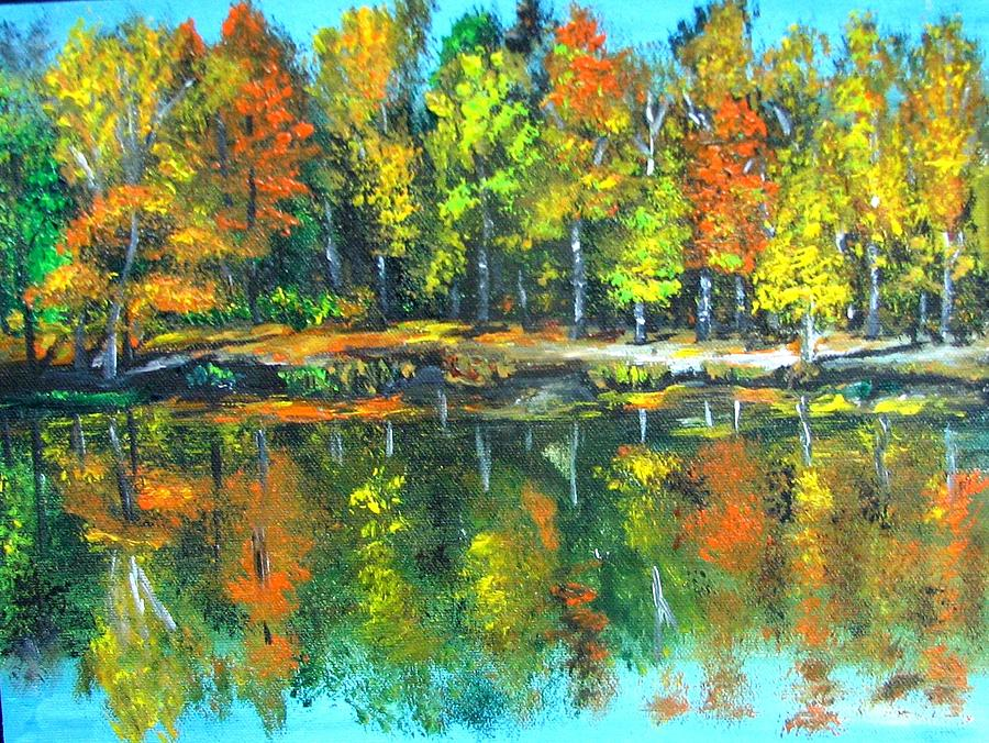 Fall Landscape Acrylic Painting Framed Painting By Natalja