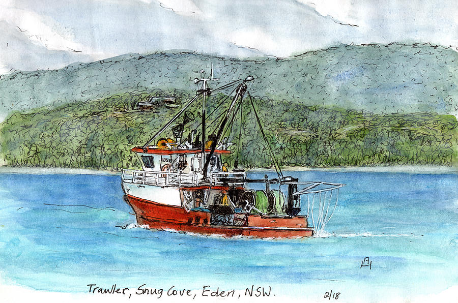 Fishing Trawler Drawing By Anne Huth