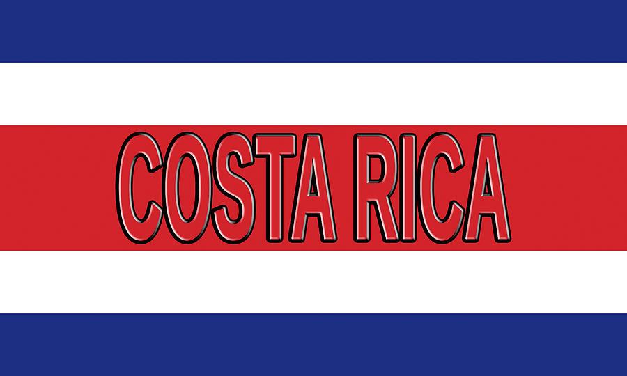 Flag Of Costa Rica Word Digital Art by Roy Pedersen - word flag