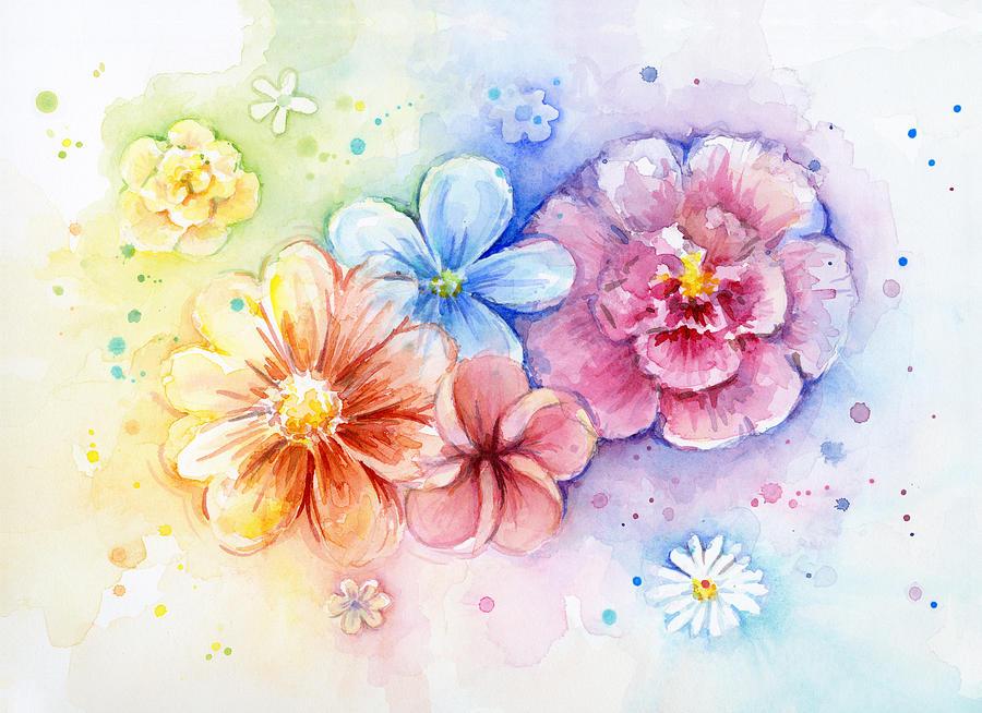 Flower Power Watercolor Painting By Olga Shvartsur
