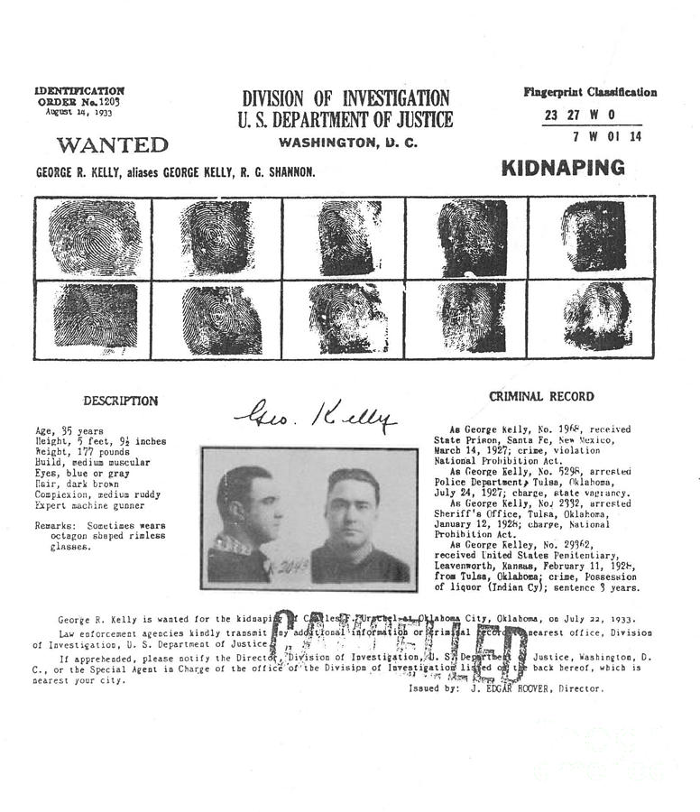 George Machine Gun Kelly Wanted Poster Photograph by Art Kurgin - criminal wanted poster