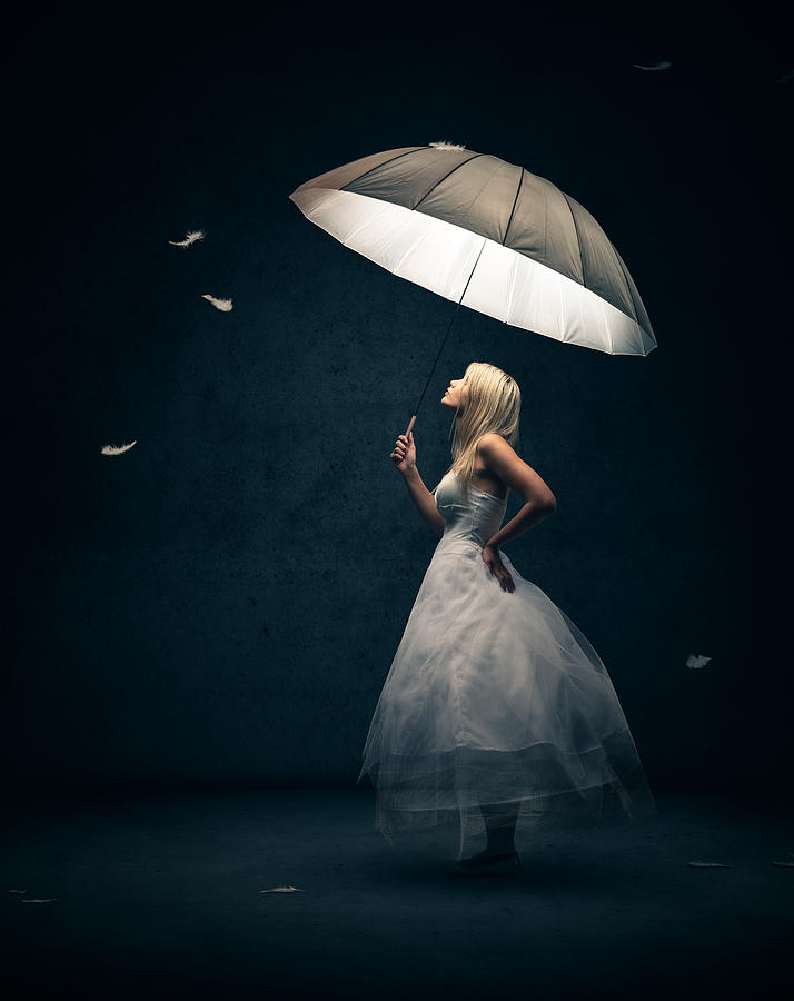 Pink Feathers Falling Wallpaper Girl With Umbrella And Falling Feathers Photograph By