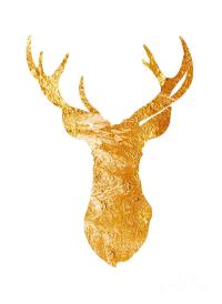 Gold Deer Silhouette Watercolor Art Print Painting by