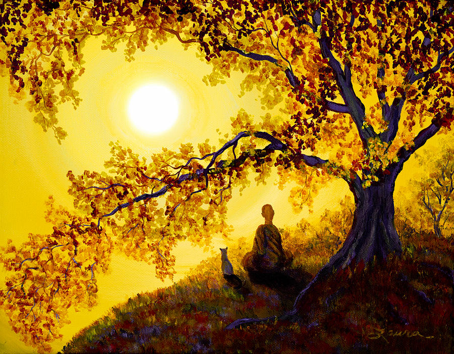 Fall Leaves Wallpaper For Desktop Golden Afternoon Meditation Painting By Laura Iverson