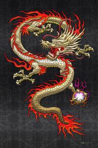 Golden Chinese Dragon Fucanglong On Black Silk Digital Art ...