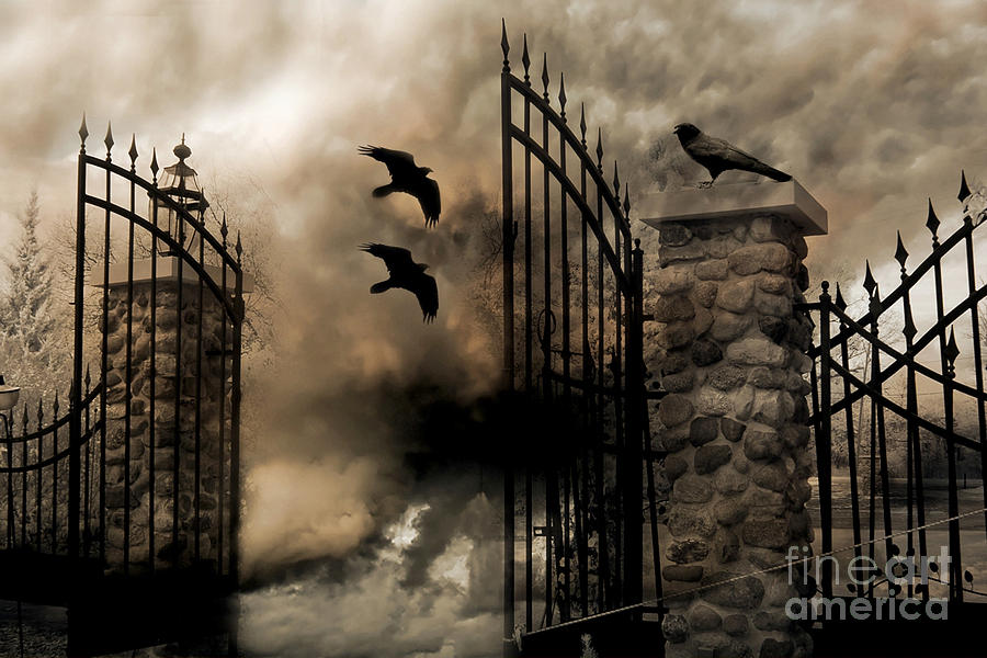 Fall Graveyard Cemetery Wallpaper Gothic Surreal Fantasy Ravens Gated Fence Photograph By