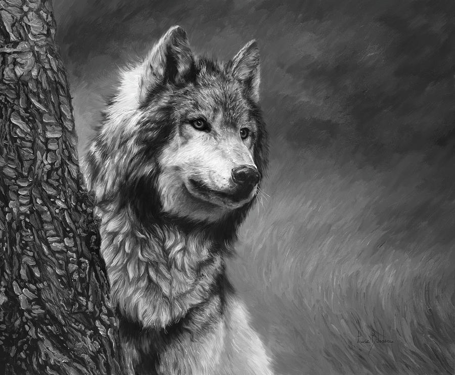 3d Rose Wallpaper Apps Gray Wolf Black And White Painting By Lucie Bilodeau