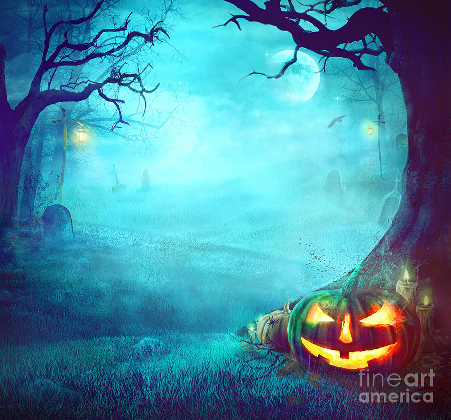 Halloween Spooky Background Photograph by Mythja Photography