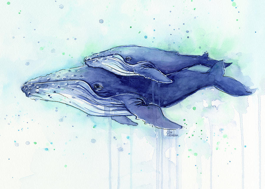 Humpback Whale Mom And Baby Watercolor Painting By Olga