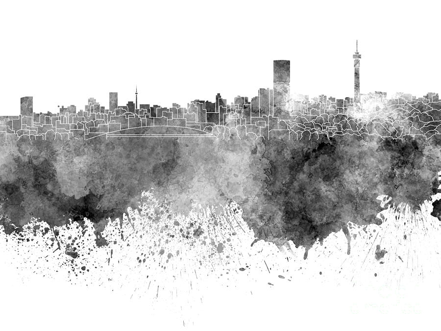 Johannesburg Skyline In Black Watercolor On White Background