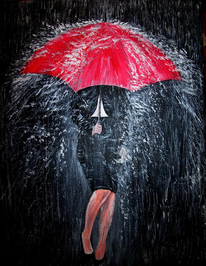 3d Rose Wallpaper Apps Lady In The Rain Painting By Pauline Mccarville