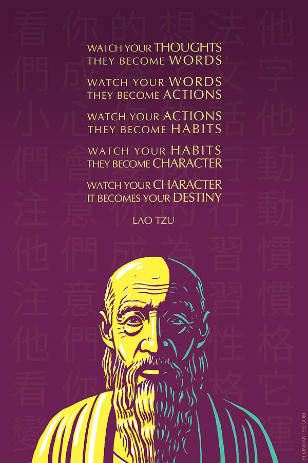 Marcus Aurelius Stoic Quotes Wallpaper Lao Tzu Quote Watch Your Thoughts Digital Art By Elvin Dantes