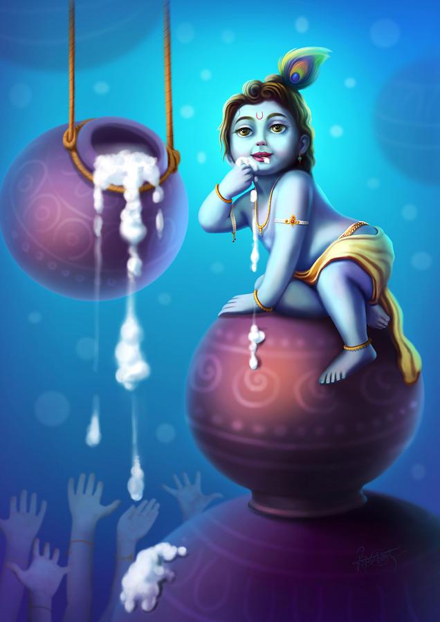 Lord Ganesha Animated Wallpapers Little Krishna Painting Www Pixshark Com Images