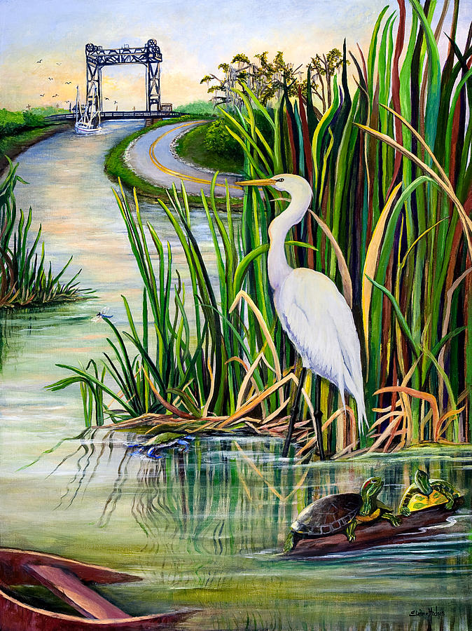 Mardi Gras Wallpaper For Iphone Louisiana Wetlands Painting By Elaine Hodges